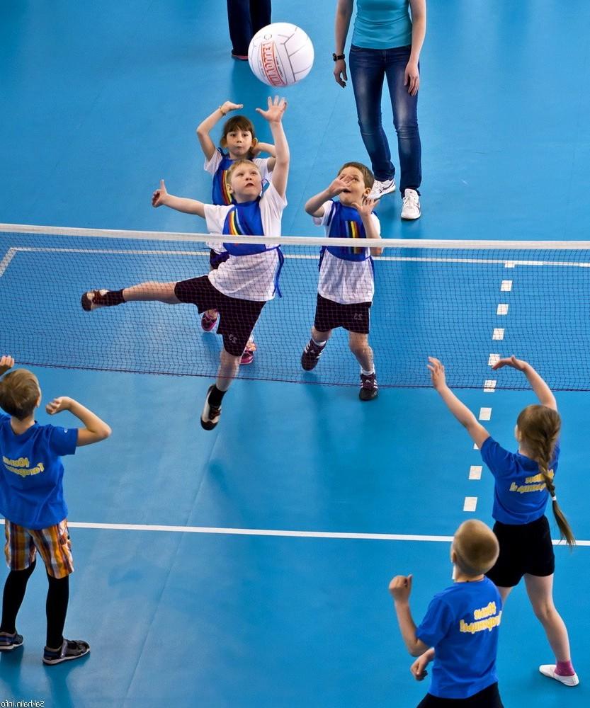 Дети играют в волейбол